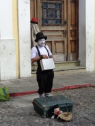 A mime seen working in the streets of Antigua on Saturday afternoon.