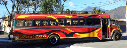 The colorful chicken busses run throughout Antigua and Guatemala. Old school busses for the U.S. and used for local travel in Guatemala.